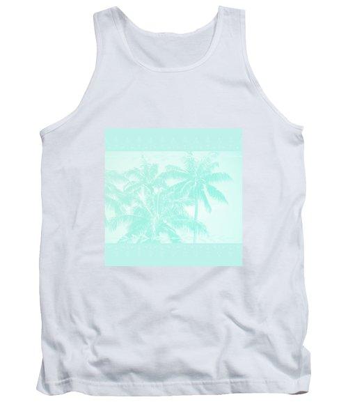 Palm Trees Hawaii Tropical Cyan Tank Top