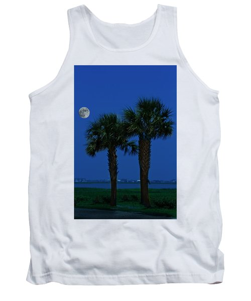 Palms And Moon At Morse Park Tank Top by Bill Barber