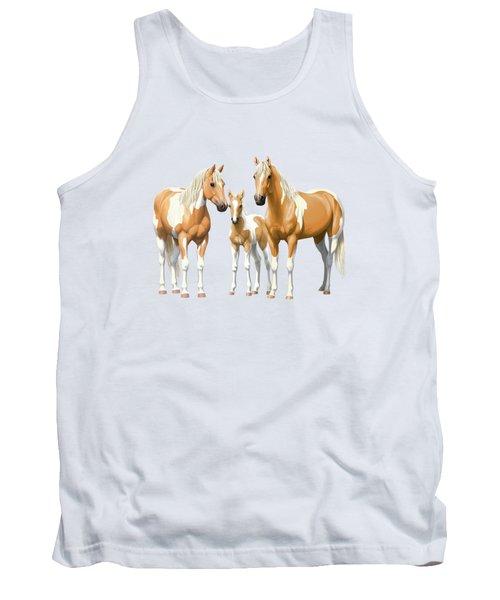 Palomino Paint Horses In Winter Pasture Tank Top