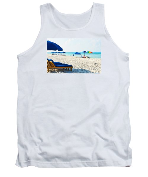 Panama City Beach Florida With Beach Chairs And Umbrellas Tank Top by Vizual Studio