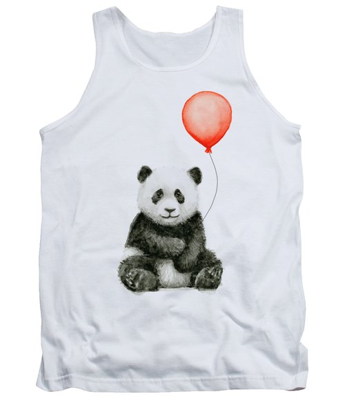 Panda Baby And Red Balloon Nursery Animals Decor Tank Top