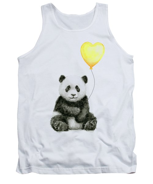Panda Baby With Yellow Balloon Tank Top