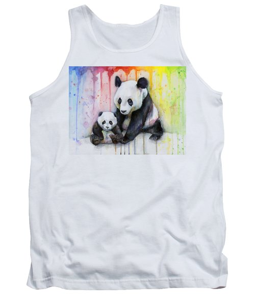 Panda Watercolor Mom And Baby Tank Top