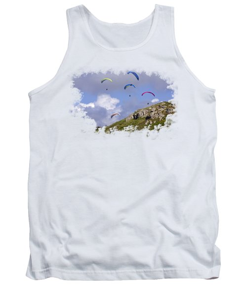 Paragliding Over Sennen Cove On Transparent Background Tank Top by Terri Waters