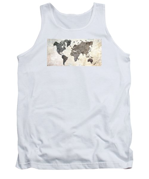 Parchment World Map Tank Top by Douglas Pittman