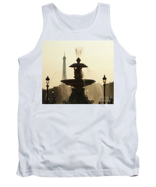 Paris Fountain In Sepia Tank Top