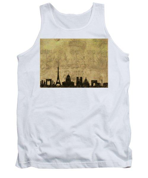 Paris Skyline Postcard Tank Top