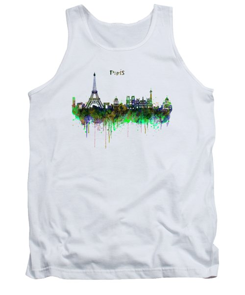 Paris Skyline Watercolor Tank Top by Marian Voicu