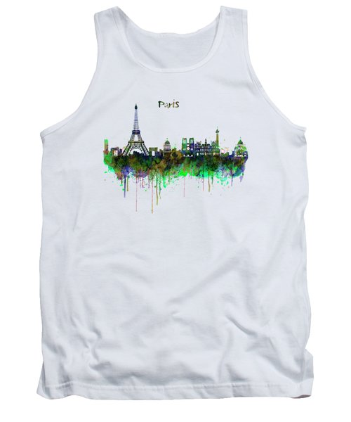 Paris Skyline Watercolor Tank Top