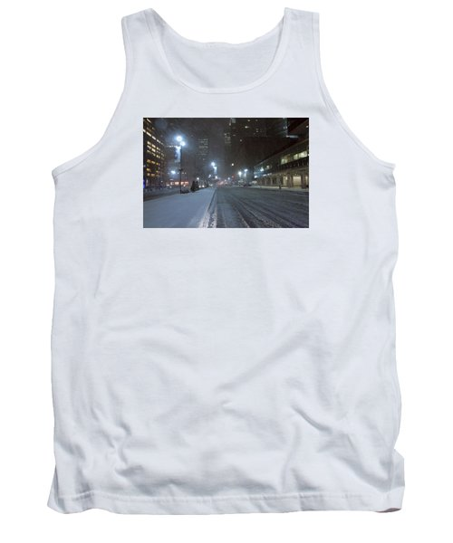 Park Avenue Near Lever Building In Snow Storm Late Night Tank Top
