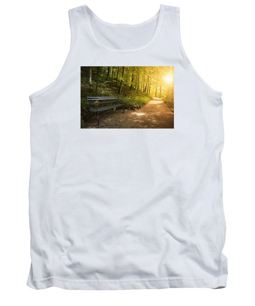 Park Bench In Fall Tank Top by Chevy Fleet