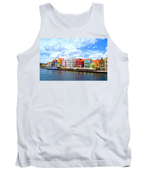 Pastel Building Coastline Of Caribbean Tank Top