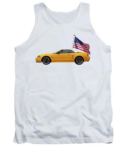 Tank Top featuring the photograph Patriotic Yellow Mustang With Us Flag by Gill Billington