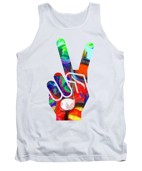Peace Hippy Paint Hand Sign Tank Top