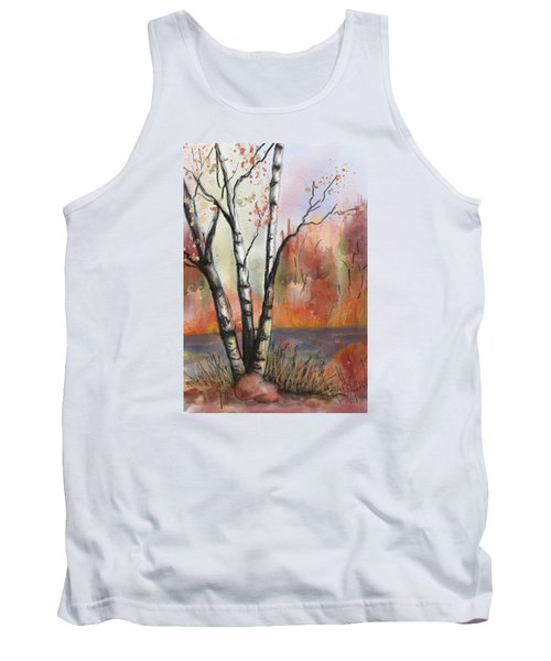 Tank Top featuring the painting Peaceful River by Annette Berglund