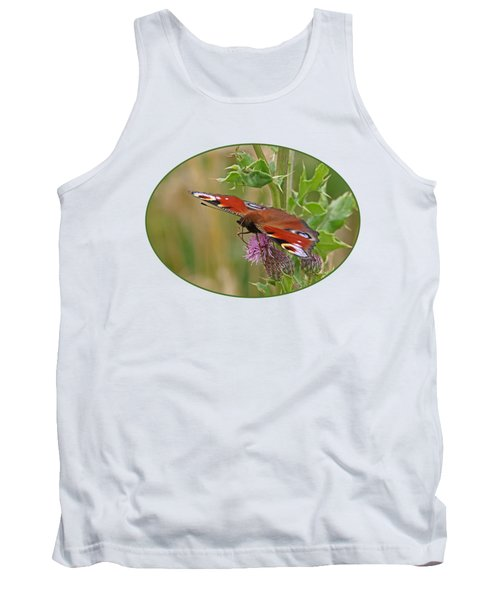 Peacock Butterfly On Thistle Tank Top