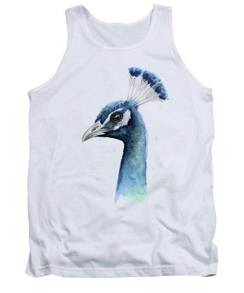 Peacock Watercolor Tank Top by Olga Shvartsur