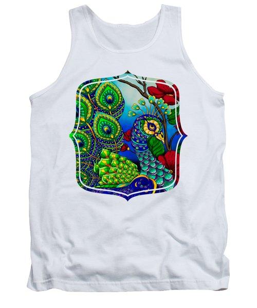 Peacock Zentangle Inspired Art Tank Top