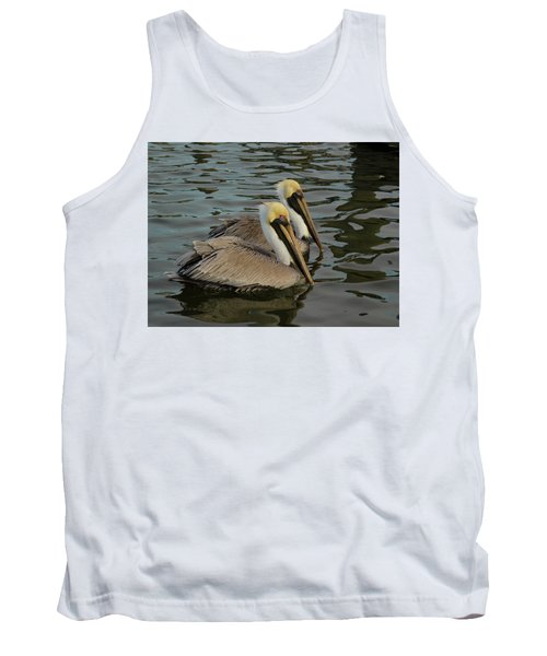Tank Top featuring the photograph Pelican Duo by Jean Noren
