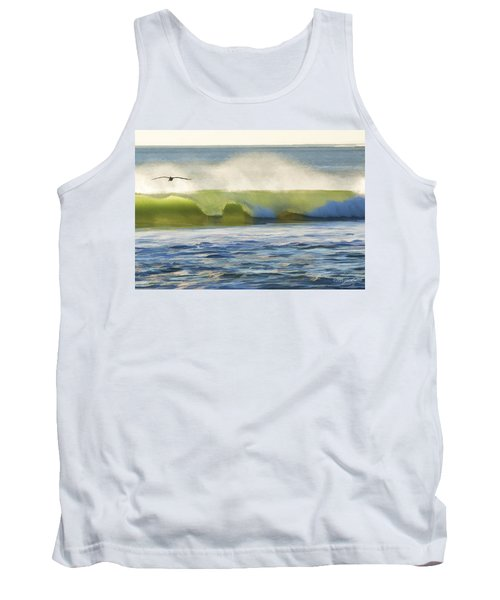Tank Top featuring the photograph Pelican Flying Over Wind Wave by John A Rodriguez