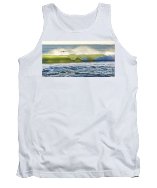 Pelican Flying Over Wind Wave Tank Top