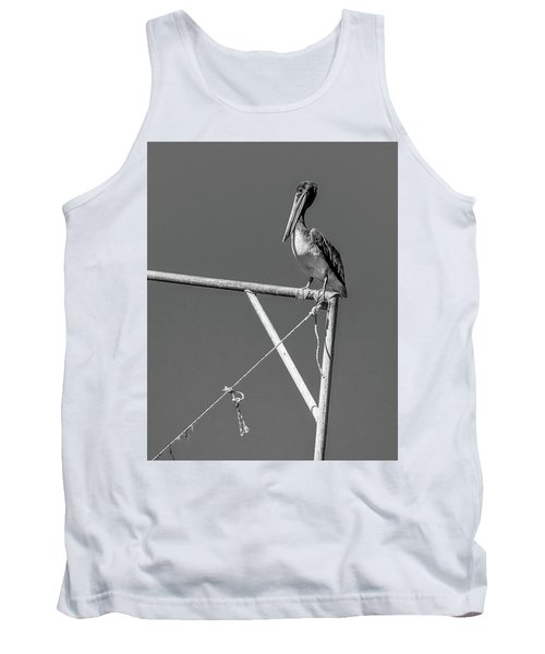 Pelican In Black And White Tank Top by Andy Crawford