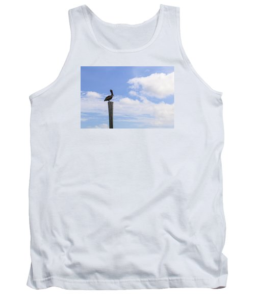 Pelican In The Clouds Tank Top by Christopher L Thomley