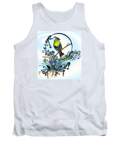 Pen And Ink Art, Colorful Goldfinch, Watercolor And Digital Art, Wall Art, Home Decor Design Tank Top by Saribelle Rodriguez