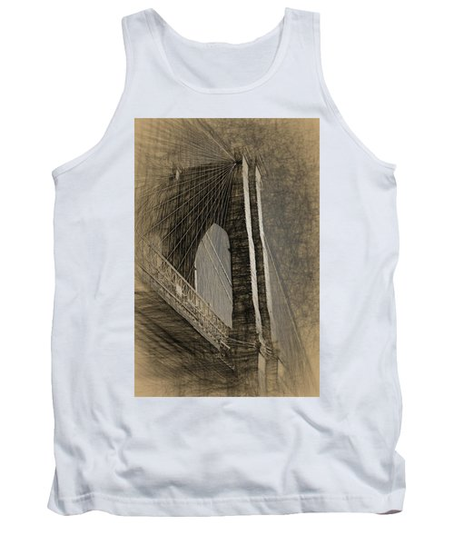 Pencil Sketch Of The Brooklyn Bridge Tank Top