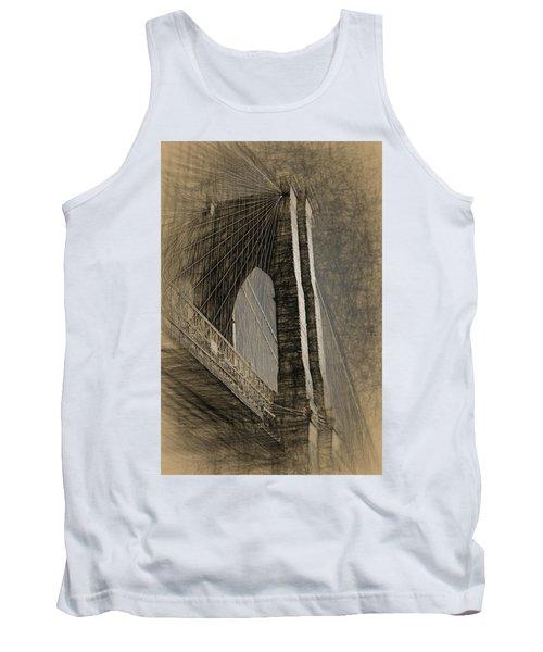 Pencil Sketch Of The Brooklyn Bridge Tank Top