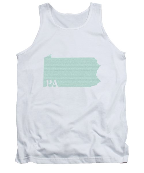 Pennsylvania State Map With Text Of Constitution Tank Top