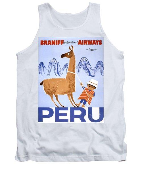 Peru Vintage Travel Poster Restored Tank Top