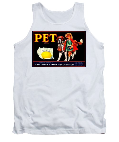 Tank Top featuring the painting Pet Saint Bernard 1920s California Sunkist Lemons by Peter Gumaer Ogden