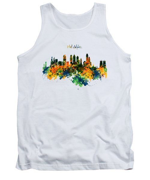 Philadelphia Watercolor Skyline Tank Top by Marian Voicu