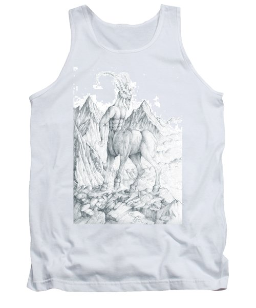Tank Top featuring the drawing Pholus The Centauras by Curtiss Shaffer