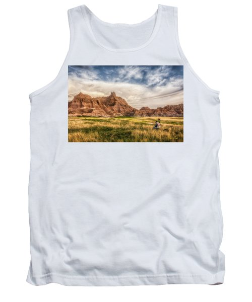 Photographer Waiting For The Badlands Light Tank Top by Rikk Flohr