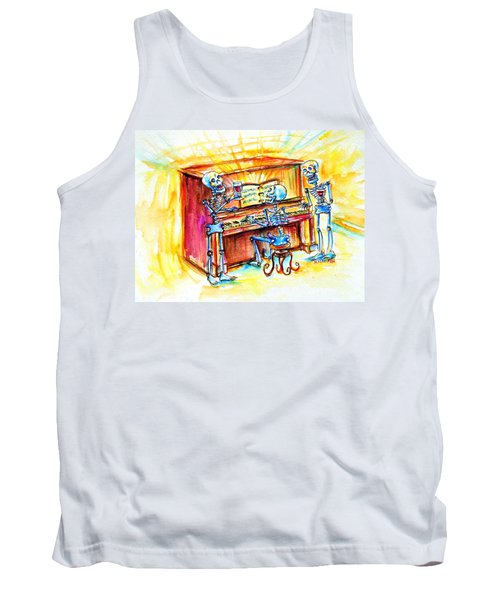 Tank Top featuring the painting Piano Man by Heather Calderon