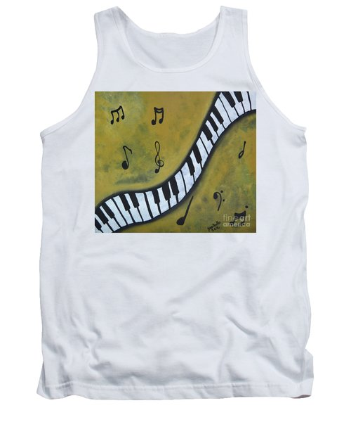 Tank Top featuring the painting Piano Music Abstract Art By Saribelle by Saribelle Rodriguez