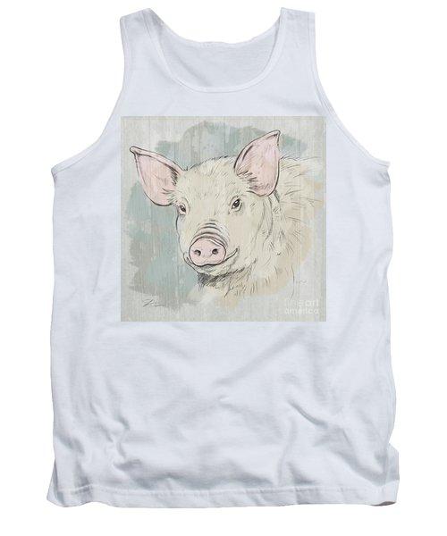 Pig Portrait-farm Animals Tank Top