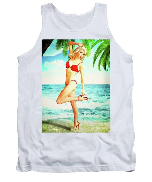 Pin-up Beach Blonde In Red Bikini Tank Top