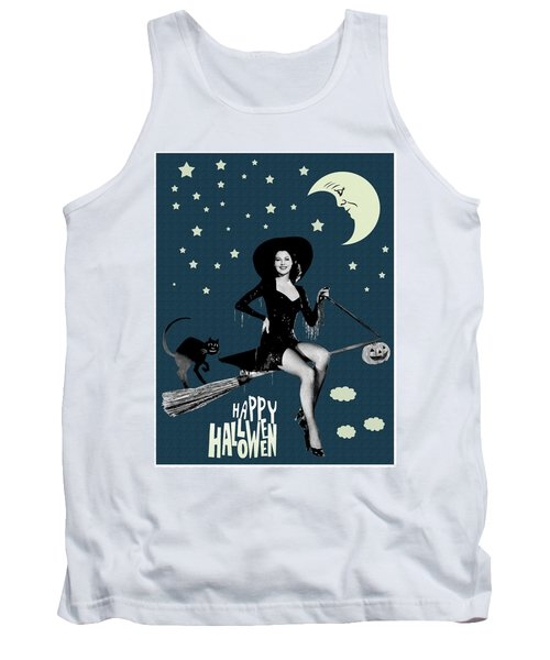 Pin Up Witch Riding A Broom Tank Top