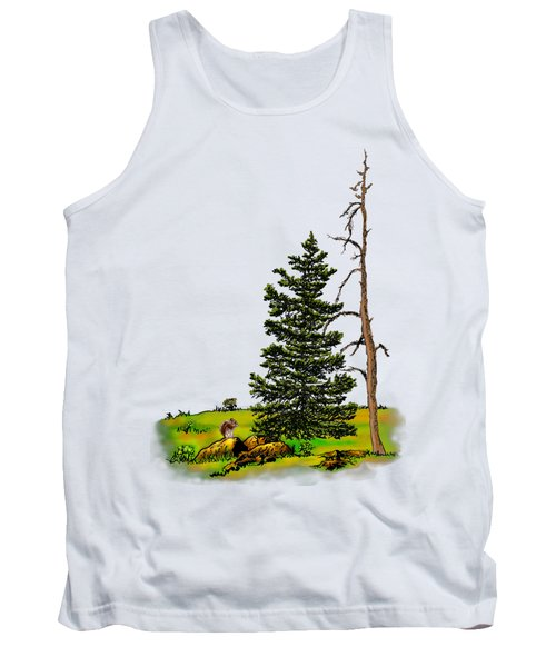 Pine Tree Nature Watercolor Ink Image 3         Tank Top