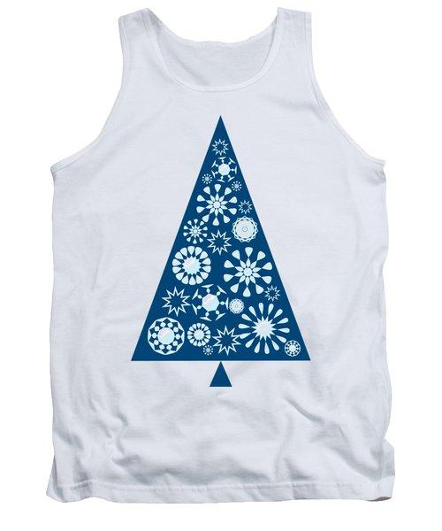 Pine Tree Snowflakes - Blue Tank Top
