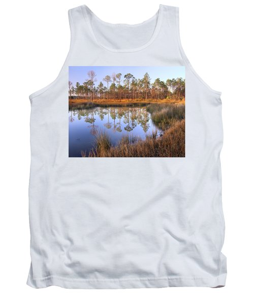 Pine Trees Reflected In Pond Near Piney Tank Top