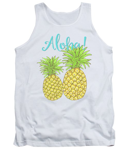 Pineapple Aloha Tropical Fruit Of Welcome Hawaii Tank Top by Tina Lavoie