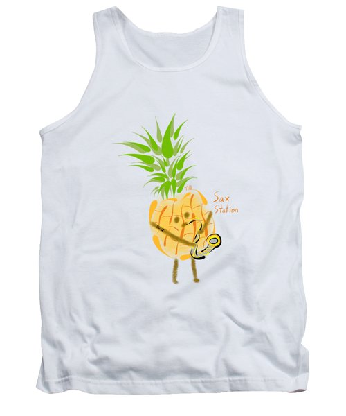 Pineapple Playing Saxophone Tank Top by Neal Battaglia
