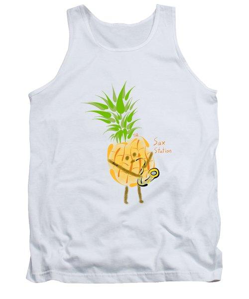 Pineapple Playing Saxophone Tank Top