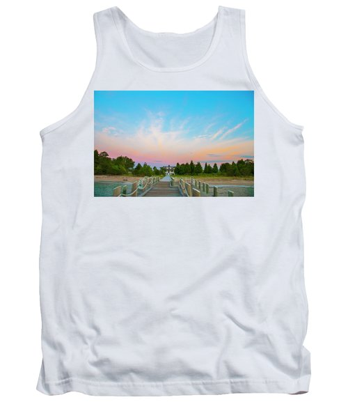 Piney Point Lighthouse From The Pier - Piney Point Maryland Tank Top