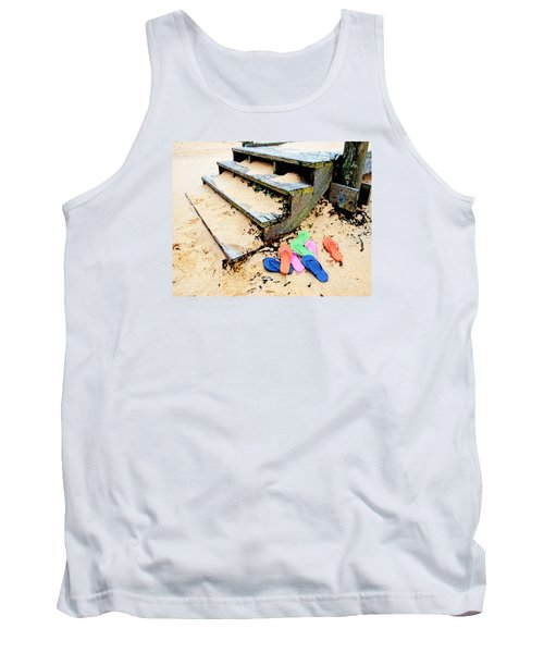 Pink And Blue Flip Flops By The Steps Tank Top by Michael Thomas