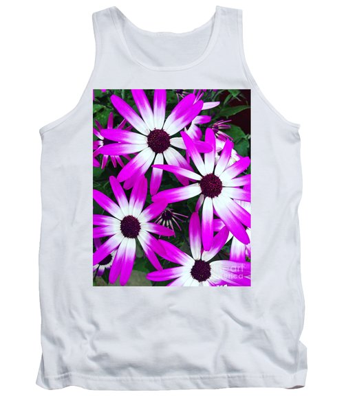Pink And White Flowers Tank Top by Vizual Studio